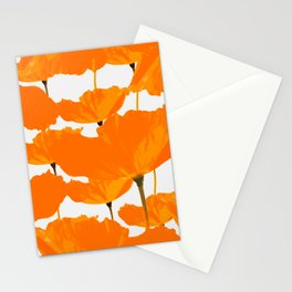 Large Poppy Flowers White Background #decor #society6 #buyart Stationery Cards