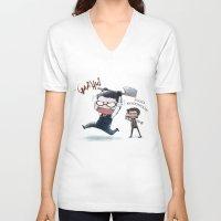 jojo V-neck T-shirts featuring JOJO NOOOOO by Yiji