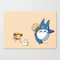 nausicaa Canvas Prints featuring となりのトトロ - Run by Studio Momo╰༼ ಠ益ಠ ༽
