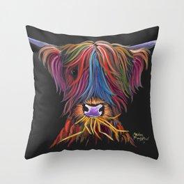 Scottish Highland Cow ' MUNCH MUNCH ' by Shirley MacArthur Throw Pillow