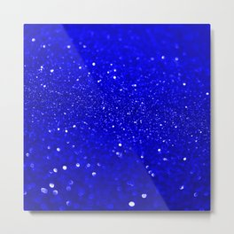 Bright Blue Glitter Metal Print