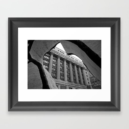 Looking Through A Building Black and White Photo, Chicago Architecture Framed Art Print