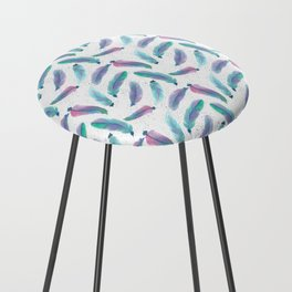 Watercolor Feathers Counter Stool