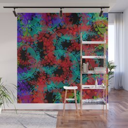 Multicolored delicate pastel red circles and blue ellipses depicting abstract ornamental green flowe Wall Mural
