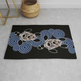 Aboriginal Art - Sea Turtles 2 Rug