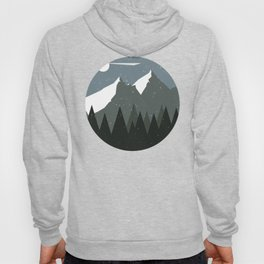 Mountains and Forest of Pine trees at night. Winter Landscape - Illustration Hoody