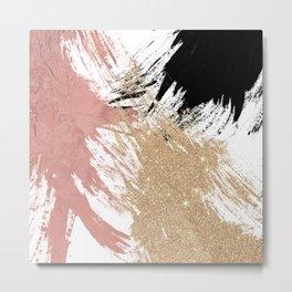 Giant Artsy Brushstrokes in Gold Rose Gold Glitter Metal Print
