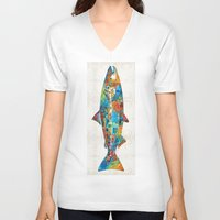 spawn V-neck T-shirts featuring Fish Art Print - Colorful Salmon - By Sharon Cummings by Sharon Cummings