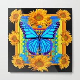 Golden Sunflowers Blue Butterfly black Art Metal Print