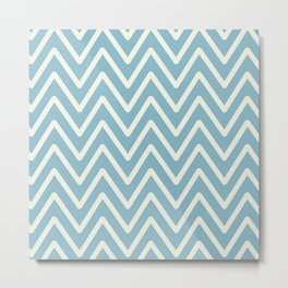 Chevron Wave Blue Petit Four and Glass Green Metal Print