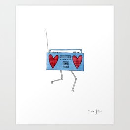 boombox with hearts Art Print