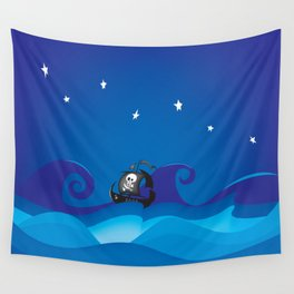 pirate ship at the sea Wall Tapestry