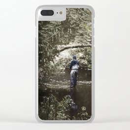 Trout River Fishing Clear iPhone Case