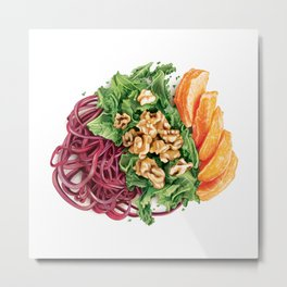 Beet Pasta with Oranges, Honey Walnuts and Crispy Kale Metal Print