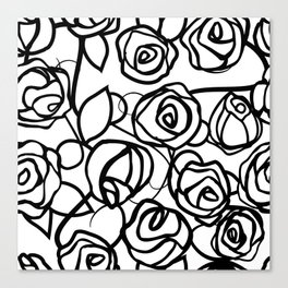 Bold Black Rose Print Canvas Print