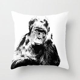 Gorilla In A Pensive Mood Portrait #decor #society6 Throw Pillow