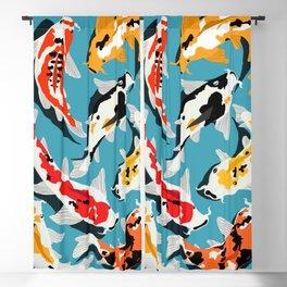 Colorful Koi Carps Swimming Around Blackout Curtain