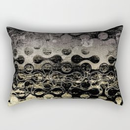 Distressed Silver Gold Multi Pattern Abstract Rectangular Pillow