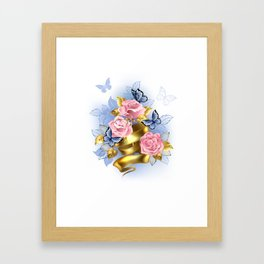 Pink Roses with Gold Ribbon Framed Art Print