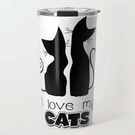 I Love My Cats (Lights) Travel Mug