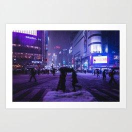 Snowy night at Shibuyacrossing Art Print