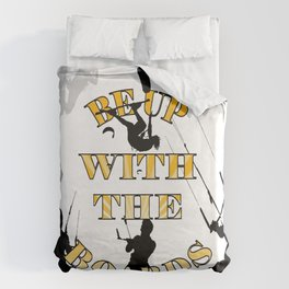 Be Up With The Boards Yellow Text And Kitesurfer Vector Duvet Cover