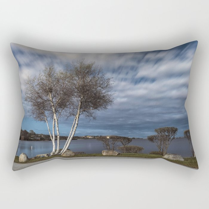 Birch tree by the pond Rectangular Pillow