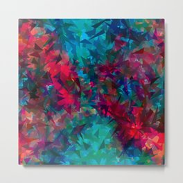 psychedelic geometric triangle abstract pattern in pink red blue Metal Print
