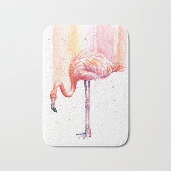 Flamingo Watercolor | Pink Rain Bath Mat