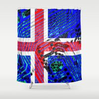 iceland Shower Curtains featuring circuit board Flag (iceland) by seb mcnulty