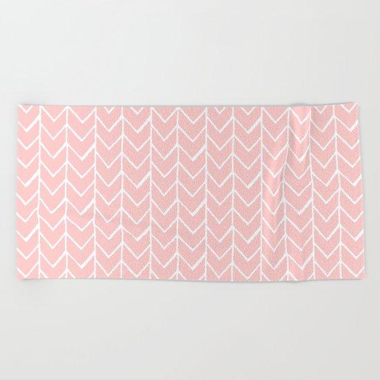 Herringbone Pink Beach Towel