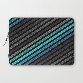 stripeS : Slate Gray Teal Blue Pixels Laptop Sleeve