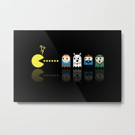 Pacman with Tintin Ghosts Metal Print