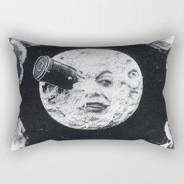 Vintage 1902 'Man in the Moon' B&W Photograph by Georges Méliès Rectangular Pillow