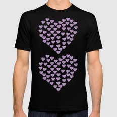 Hearts Heart x2 Radiant Orchid Black MEDIUM Mens Fitted Tee