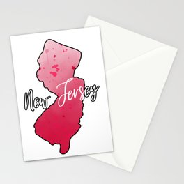 New Jersey State Map Watercolor Art Stationery Cards