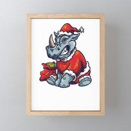 Rhino Santa Framed Mini Art Print