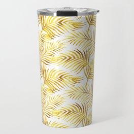 Palm Leaves_Gold and White Travel Mug