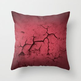 Abstract Texture Red Clay Cracked Wall Throw Pillow