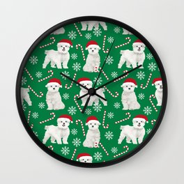 Maltese christmas festive dog breed holiday candy canes snowflakes pattern pet friendly dog art Wall Clock