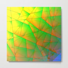 Abstract pattern of green and overlapping yellow triangles and irregularly shaped lines. Metal Print