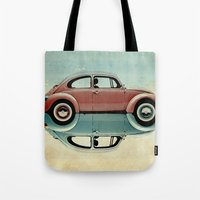 bug Tote Bags featuring love bug by Vin Zzep