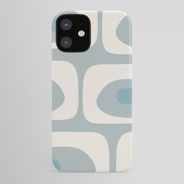 Mid Mod Piquet Abstract Minimalist Pattern in Light Blue-Gray and Cream iPhone Case