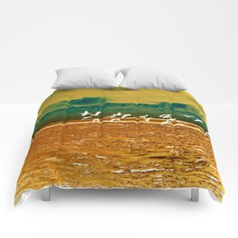 A Flock of White Pelicans Watercolor Comforters