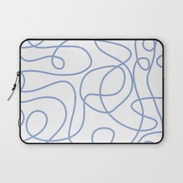 Doodle Line Art | Periwinkle Lines on White Background Laptop Sleeve