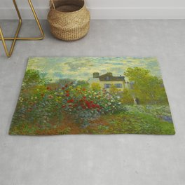 Claude Monet Impressionist Landscape Oil Painting A Corner of the Garden with Dahliass Rug