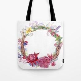 Watercolor wreath of exotic flowers. Tote Bag