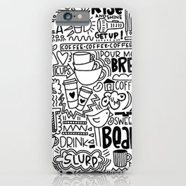 Coffee Lovers Hand-drawn Illustration iPhone Case