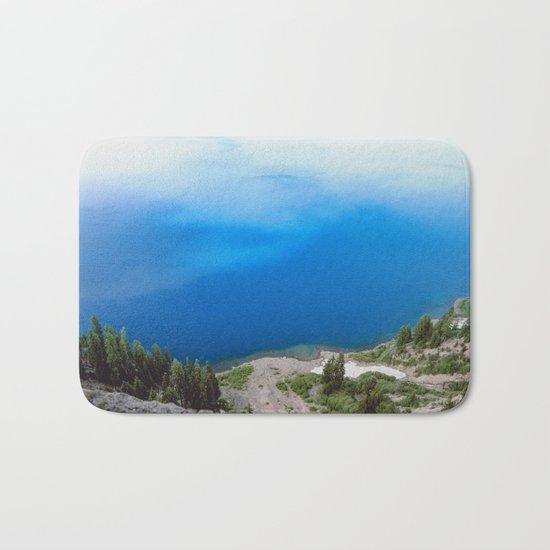 Crater Lake Cloud Reflection Bath Mat