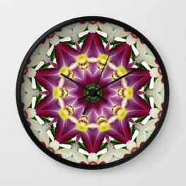 Daylily mandala 1, red-violet, cream and yellow Wall Clock